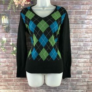 APT. 9 Women's Argyle Sweaters Cashmere V-Neck S